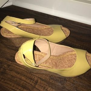 Shoes - Brand new!  Cute mustard color wedges